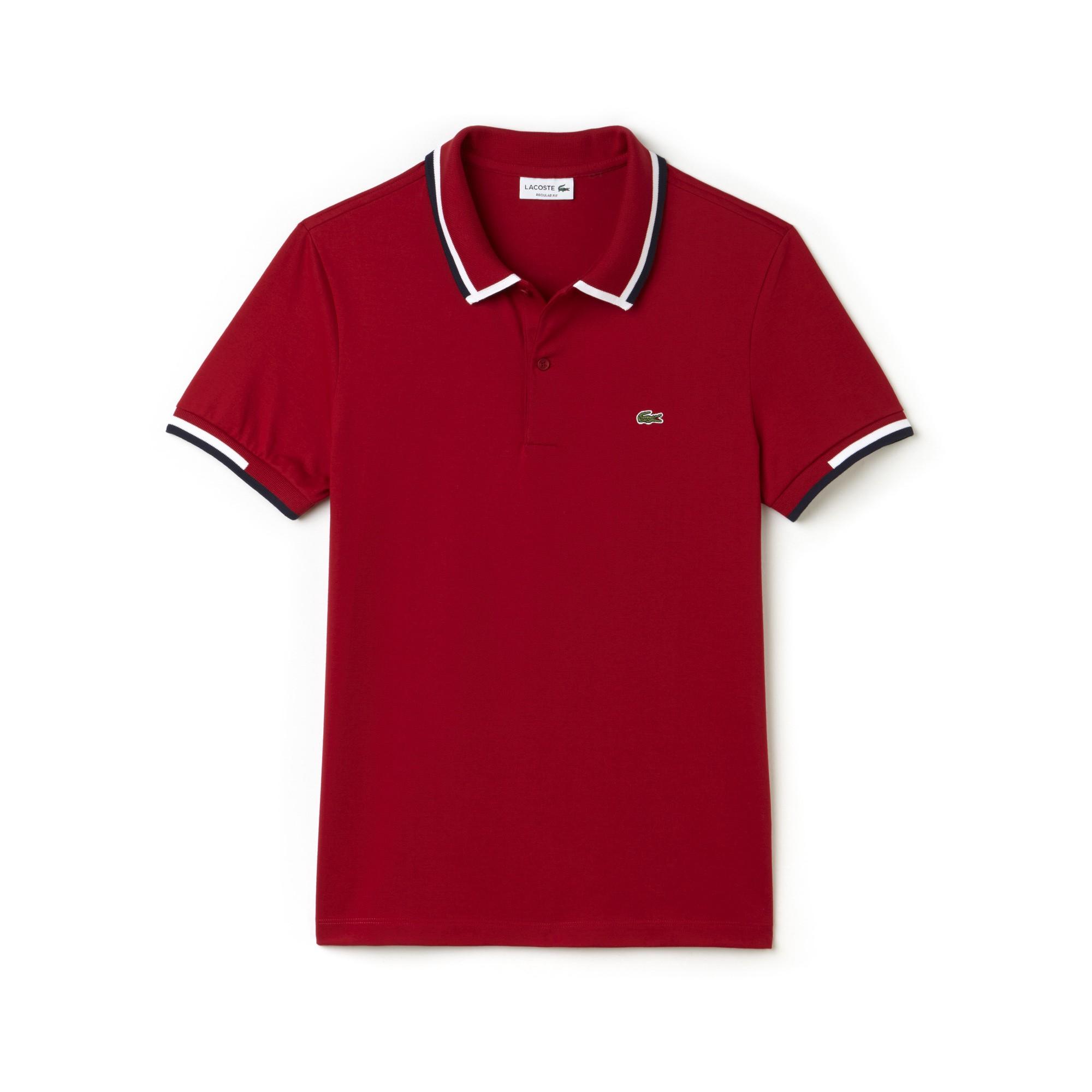 48c586d4 Lacoste Men's Regular Fit Tricolor Neck Jersey Polo - Ladybird/White ...