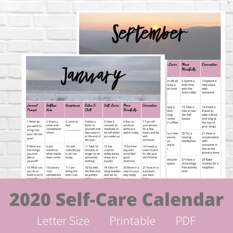 2020 Self Care Calendar Etsy in 2020 Care calendar