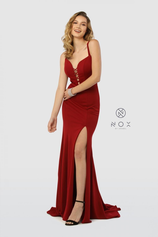 e545a7b1ab2a MQ 1631 CrissCross Wrap Halter Gown with Satin Skirt Slit