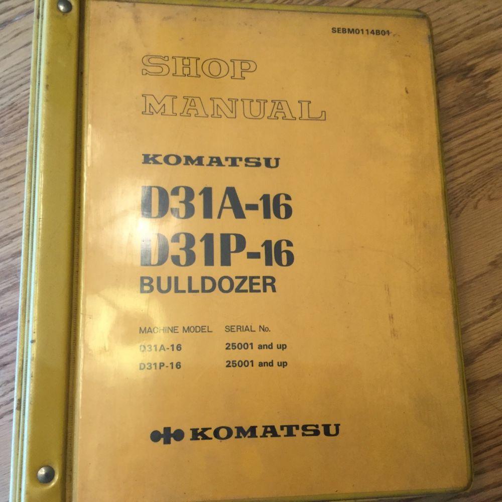 Komatsu D31A-16 D31P-16 SERVICE SHOP REPAIR MANUAL BULLDOZER TRACTOR DOZER  GUIDE