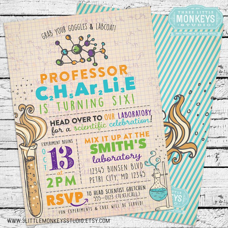Science Birthday Invitation | Science party, Birthdays and Office ...