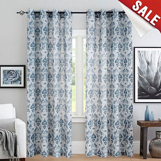 Amazon Curtains Living Room Design Ideas For Rugs Com Vintage Linen With Multicolor Damask Printed Drapes Bedroom Medallion Curtain Sets Windows Patio Door 2 Panels