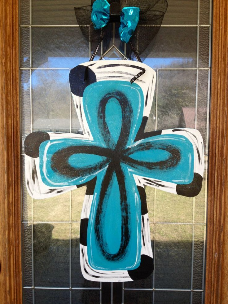 Beautiful Hand Painted On Wood Door Hanger Description From Etsy Com I Searched For This On Bing C Cross Door Hangers Hand Painted Crosses Door Wreath Hanger