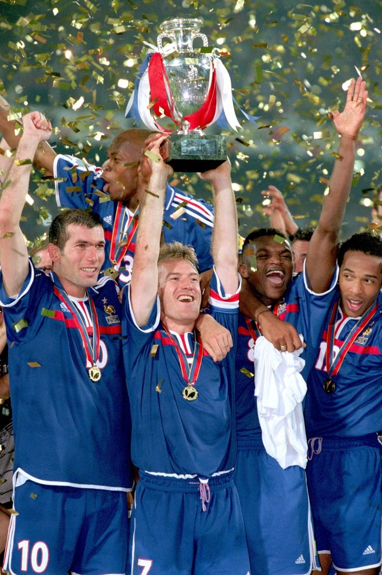 France's Didier Deschamps lifts the European Championship