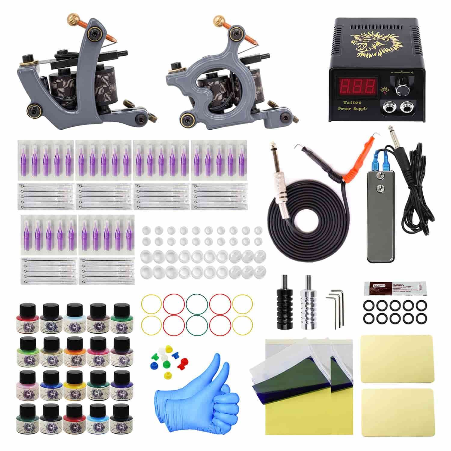 Complete tattoo kit liner shader coils tattoo machines