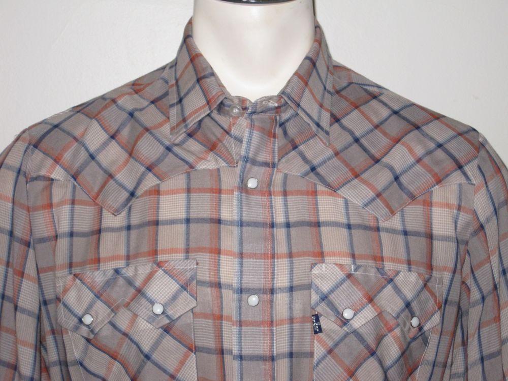 099411fd1f Men s Vintage Levi s Pearl Snap Western Shirt - XL - Brown Check - Cotton  Blend  Levis  Western