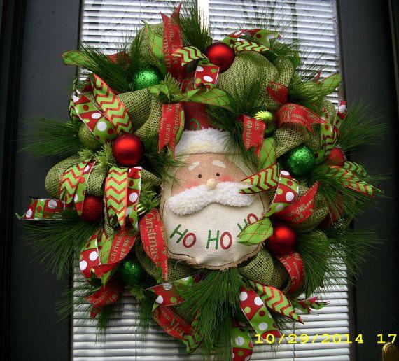 Santa Clause Wreath by LisasLaurels on Etsy