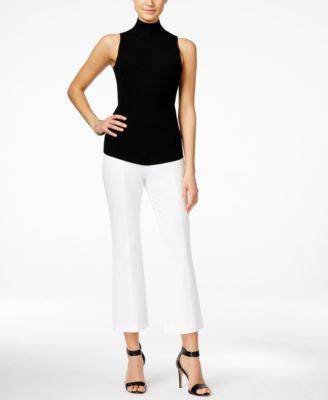 INC International Concepts Sleeveless Mock-Neck Sweater, Flared Trousers & Two-Piece Sandals, Only at Macy's