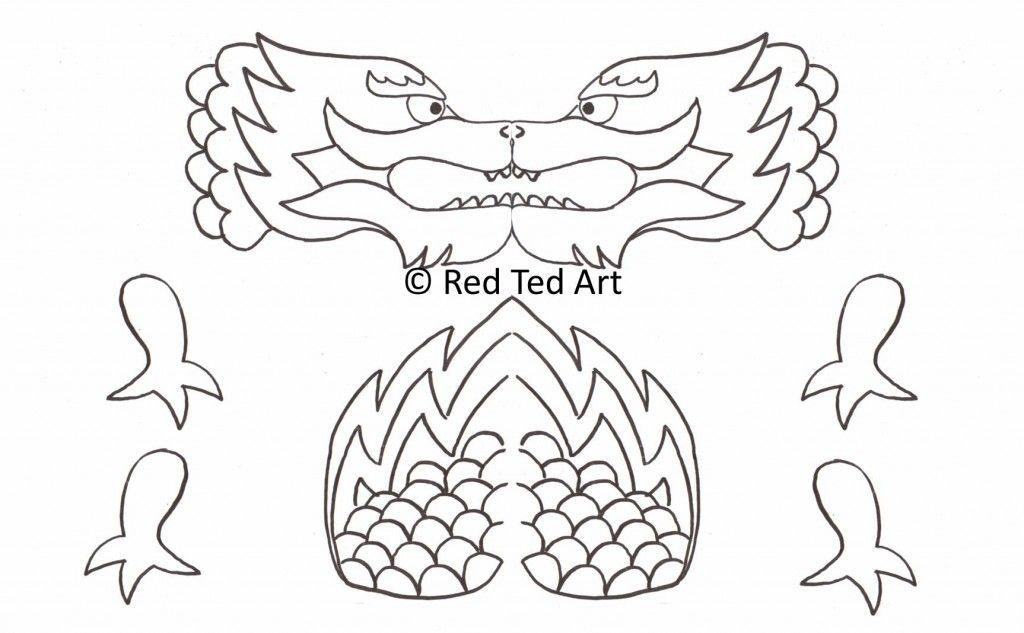 Chinese New Year Craft Dragon Puppet Printable Chinese New Year