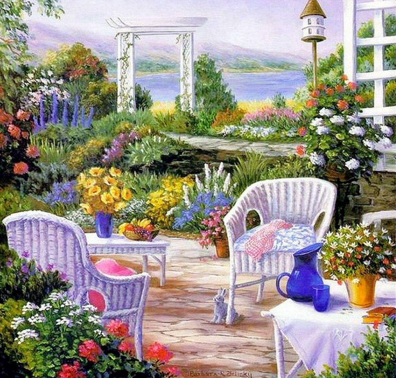 Cuadros modernos pinturas cuadros de casas con jardines barbara rosbe felisky artistic for Casas con jardin