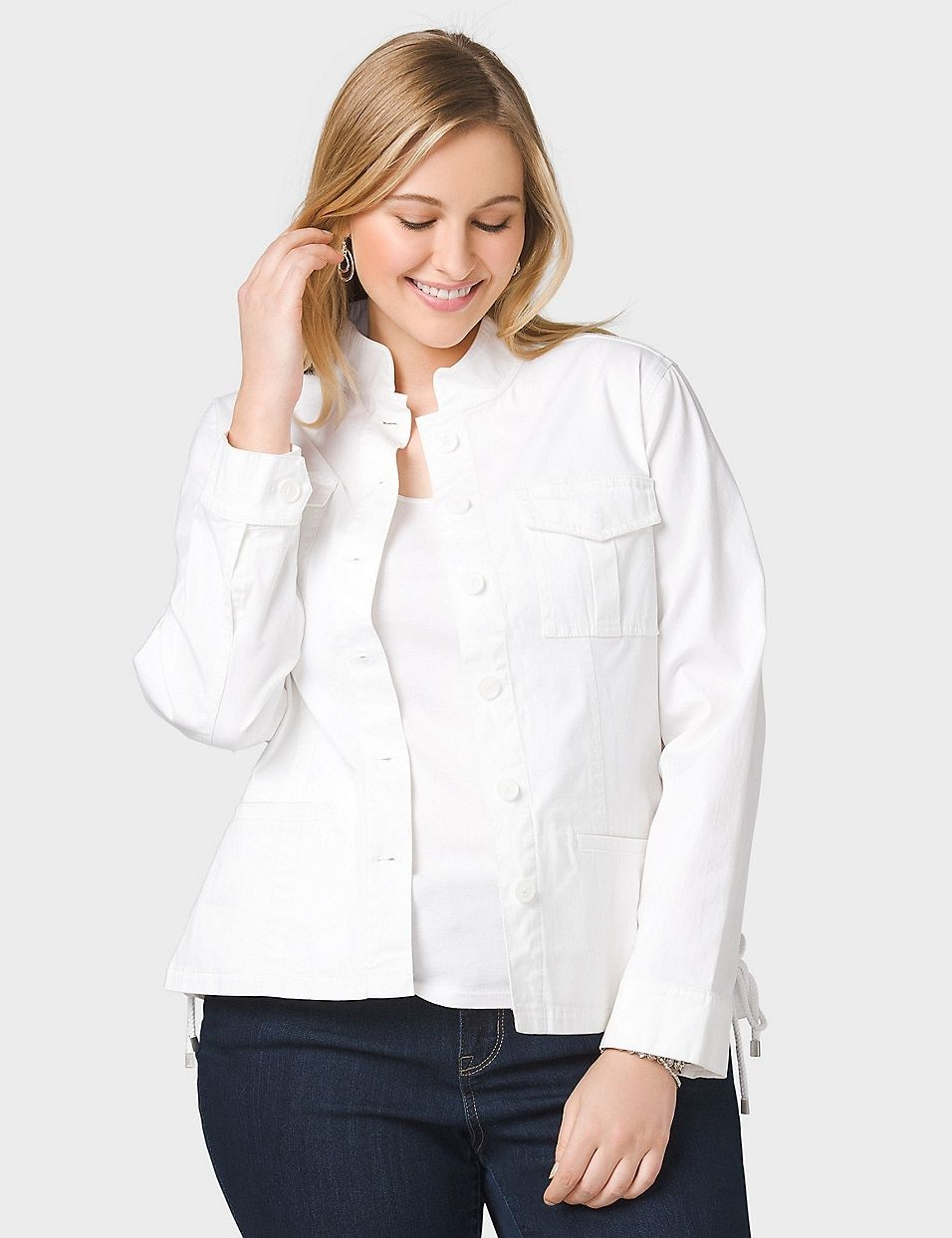 74befe9007f Plus Size Lace Up Jacket