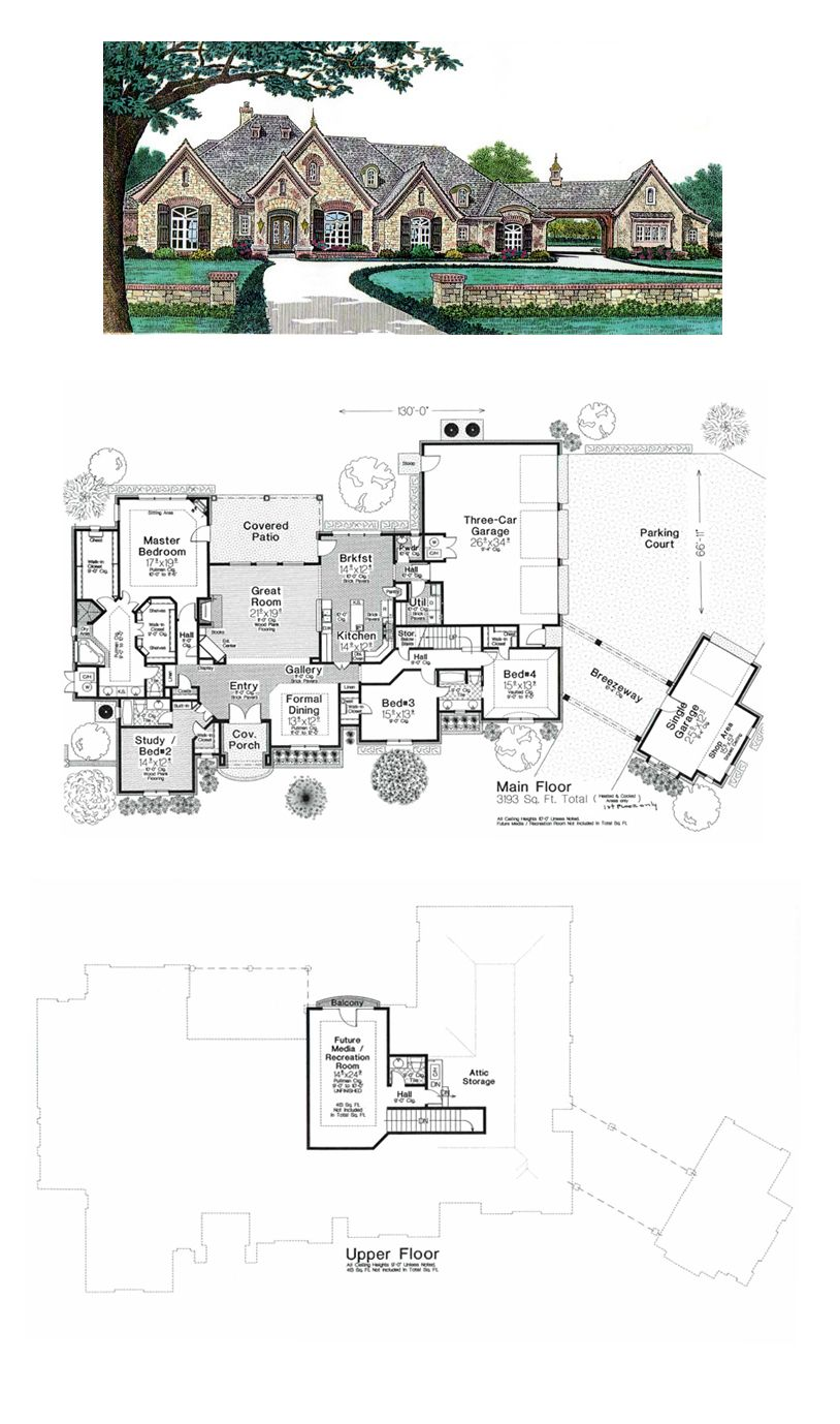 French Country Style House Plan 66248 With 4 Bed 5 Bath 4 Car Garage Basement House Plans French Country House House Plans
