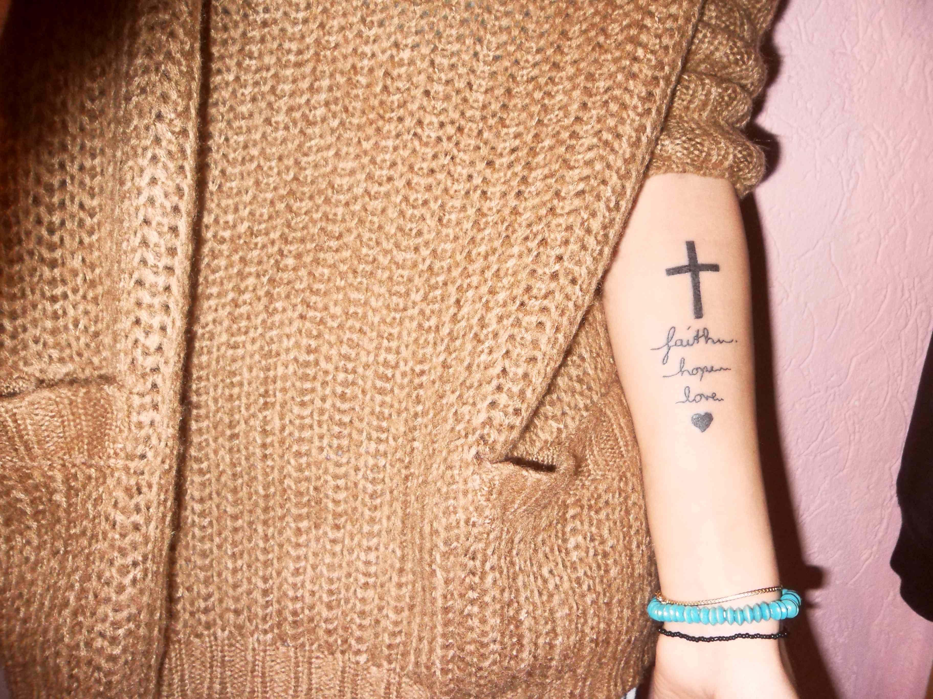 Faith hope and love tattoo tattos pinterest for Faith love tattoo