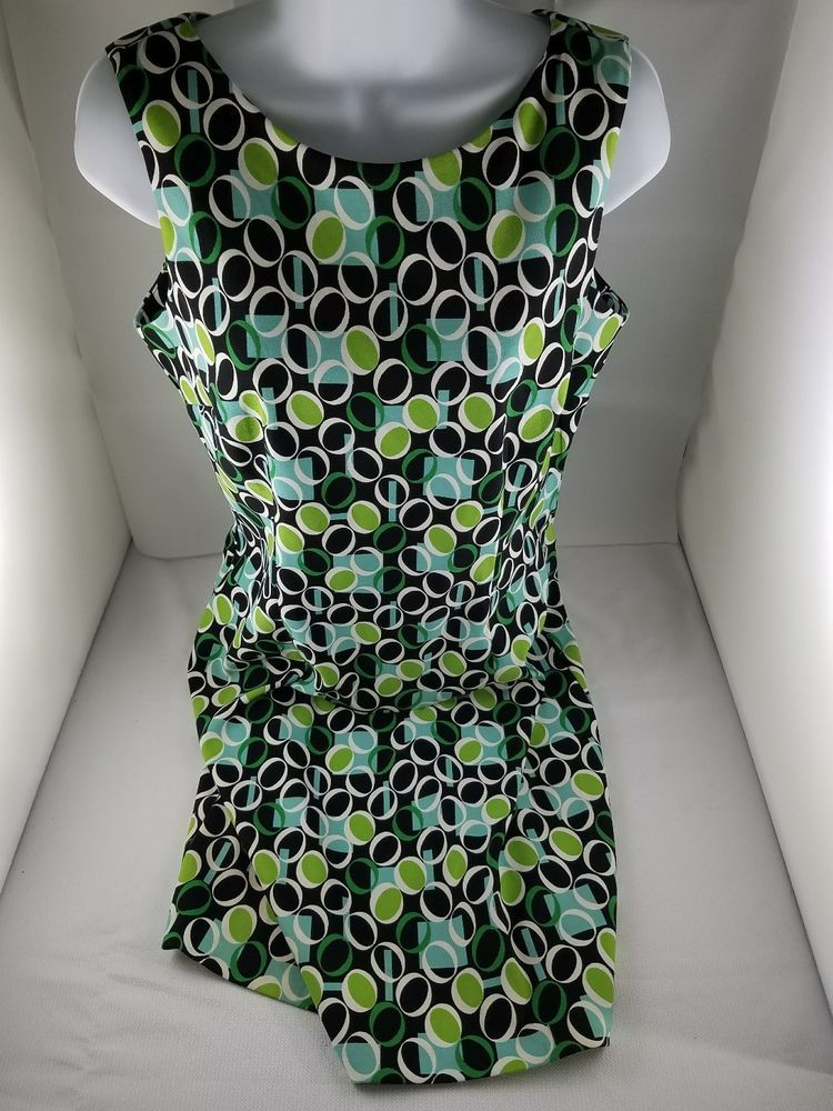 cbf541850c5 Womens DRESS BARN Black White Blue Green Os Sleeveless Wide Neck Back Zip  Size 8  Dressbarn  Everyday  Everyday