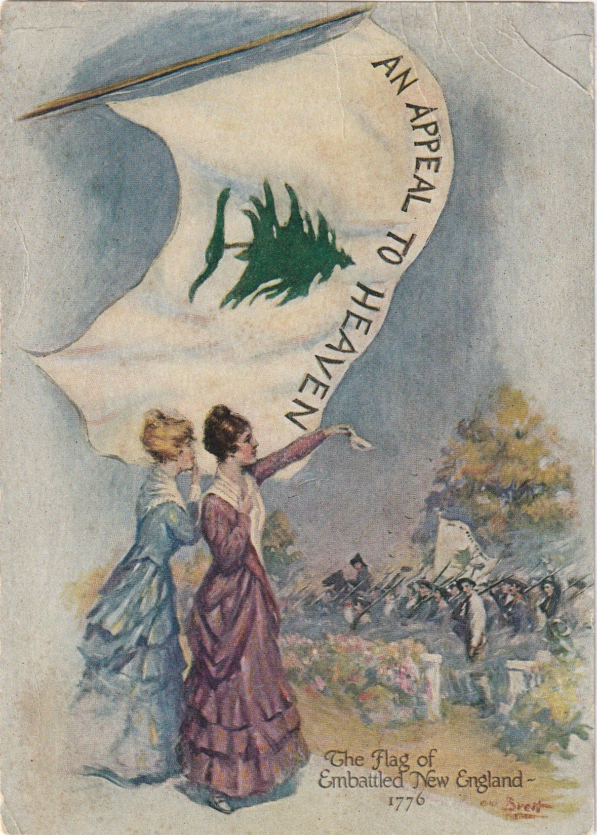 An Appeal To Heaven Flag Of Embattled New England Print C 1900s Lithograph Print Painting New England