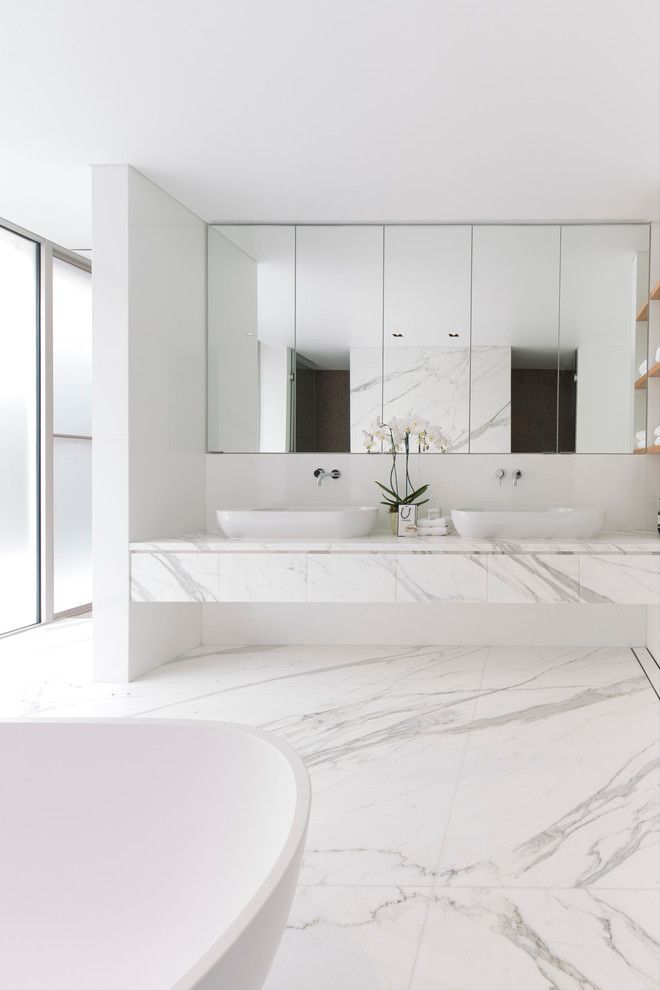 All Stone Floating Vanity With Vessel Sinks With Wall Mounting