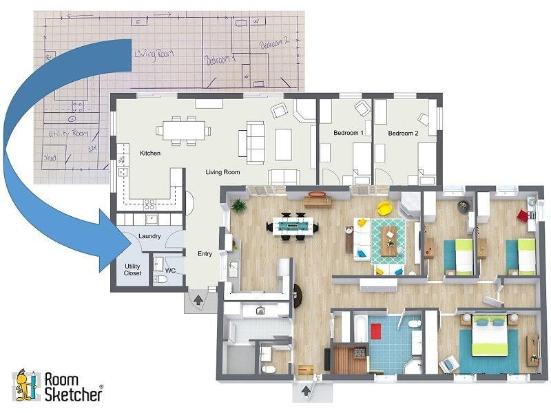 Did You Know That You Can Upload An Existing Floor Plan To Home Designer To Use As A Template When You Draw Upload A Bluep Floor Plans Plan Sketch House Plans