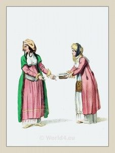 Traditional Greek Dress. Women in traditional costumes of Andros island.