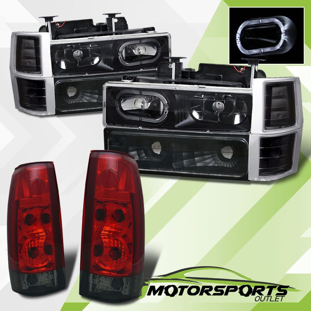 Truck 98 chevy truck parts : 94-98 Chevy C/K Series/Suburban/Tahoe LED Halo Headlights+Red ...