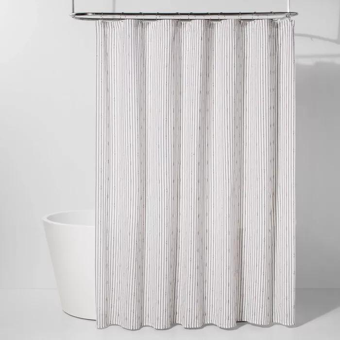 Textured Stripe Shower Curtain Black White Project 62 Black