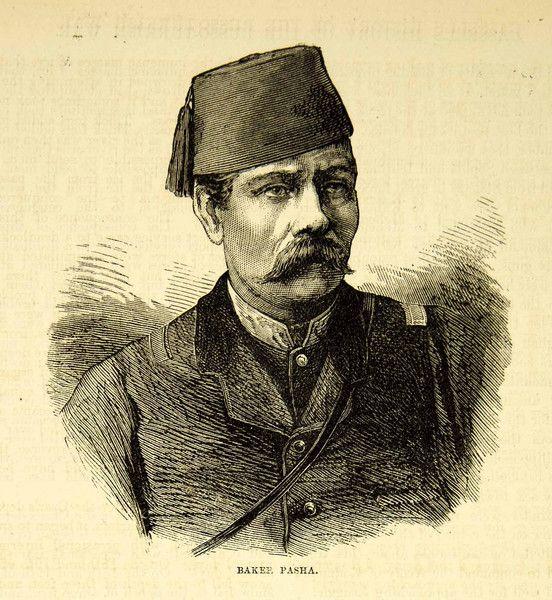 1883 Wood Engraving Valentine Baker Pasha Ottoman Empire Ferik Russo XEGA3 - Period Paper