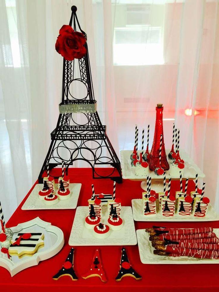 Decoraci n de mesa de postres en color rojo para xv a os for Decoracion xv anos paris