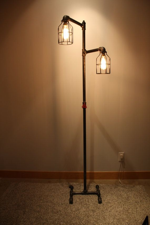 Black Iron Pipe Floor Lamp Faucet Switch Amp Bulb Cages