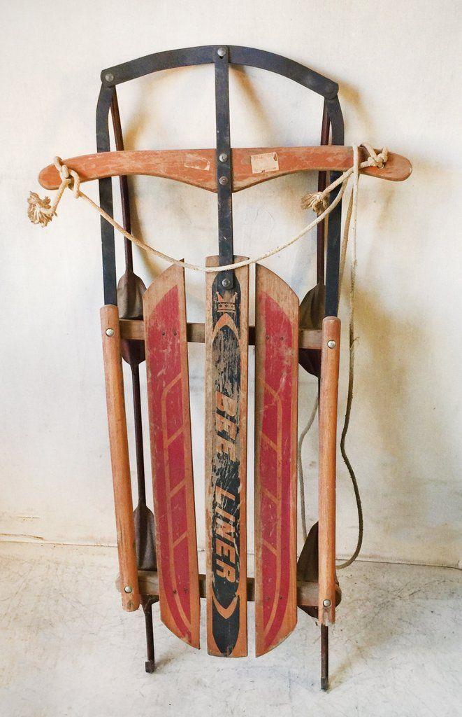 Vintage Wood And Metal Bee Liner Sled Toboggan 65