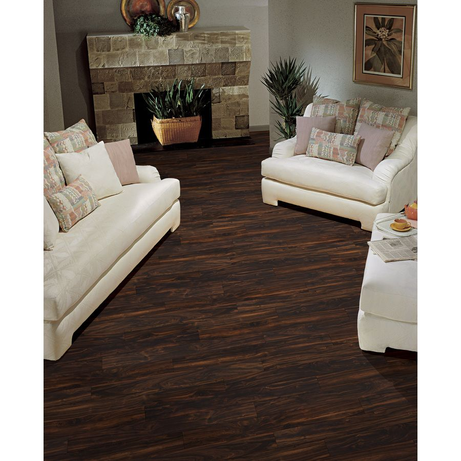 shop style selections 4 96 in w x 4 23 ft l dark walnut smooth laminate wood planks at lowes com