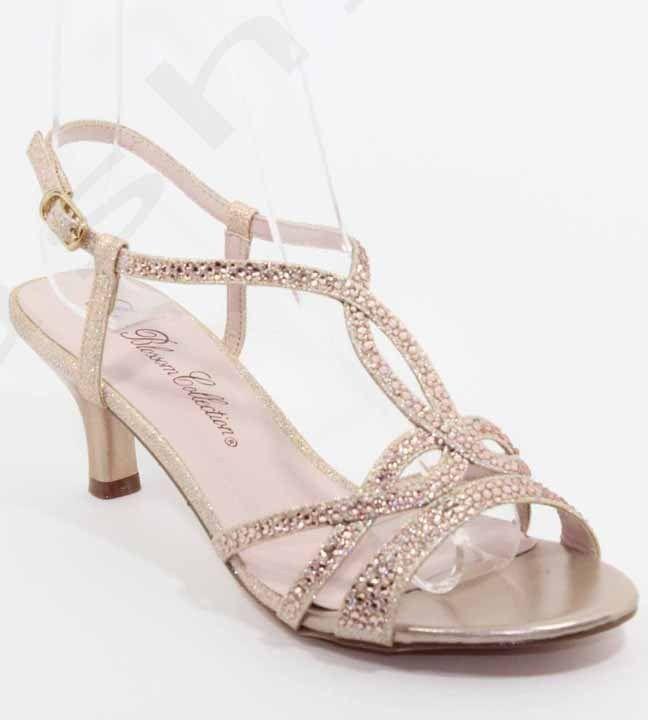 De Blossom Berk 151 Champagne Sparkle Rhinestone Low Heel T Strap Dress Shoes