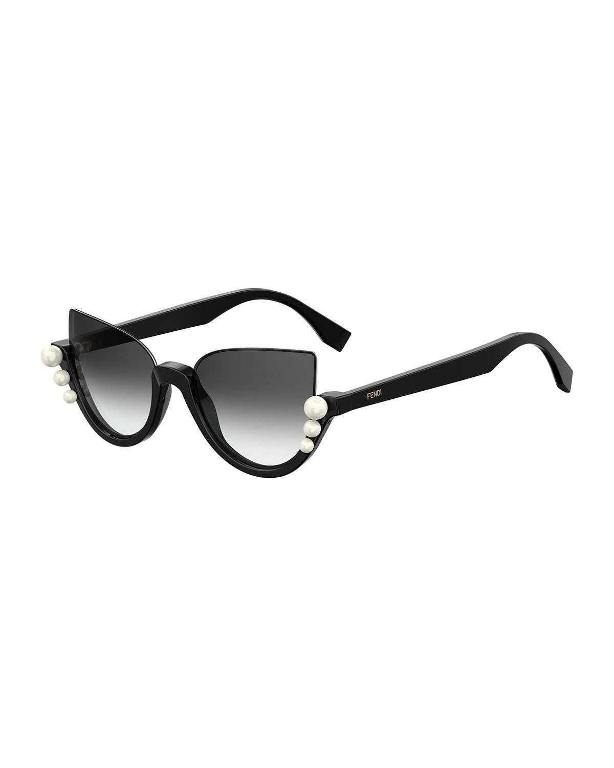 c767a4a7f56a1 Fendi Blink Half-Rim Pearl Cat-Eye Sunglasses in 2019