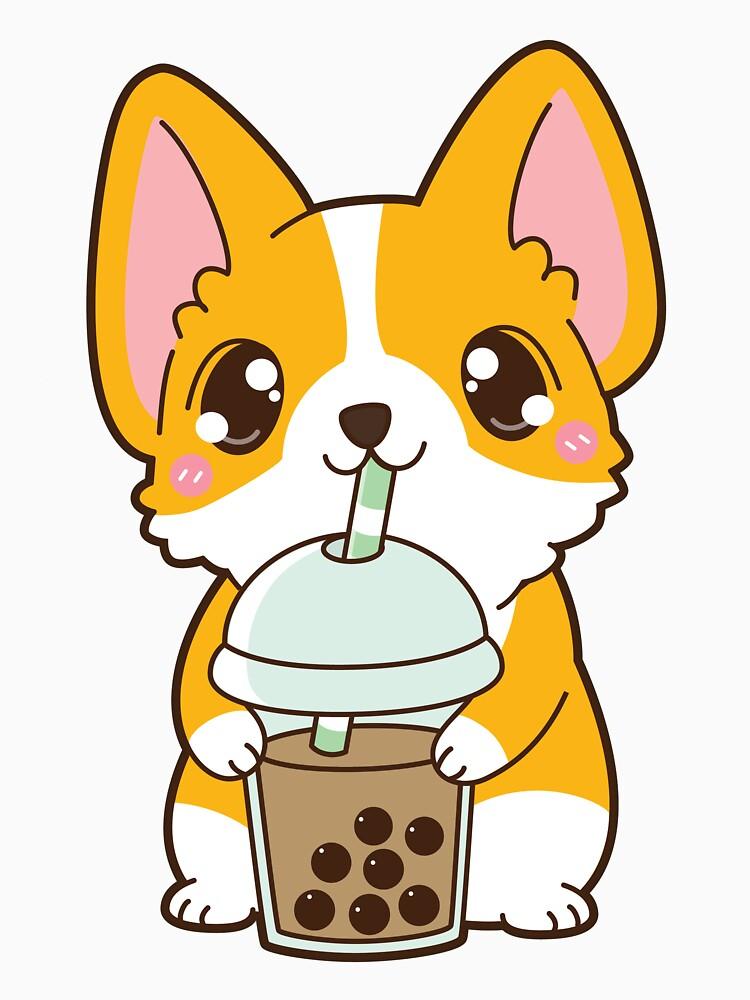 Boba Corgi Classic Milk Tea Cute Dog Drawing Cute Kawaii Drawings Cute Animal Drawings Kawaii