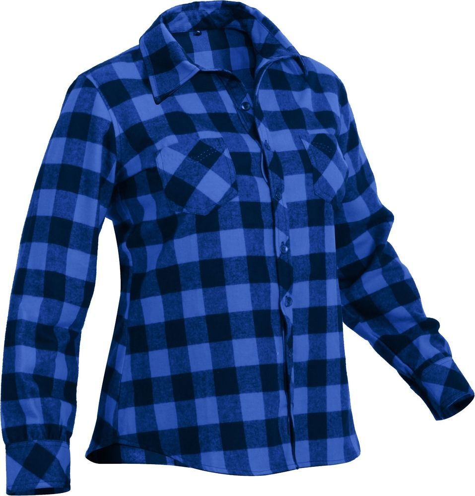 Women s Blue Plaid Button Down Tapered Cut Flannel Shirt  Rothco   ButtonDownShirt  Casual ef42a5783f3