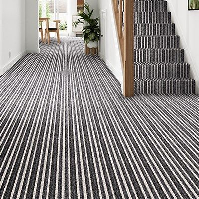 Best Grey Black Striped Carpet Stair Hallway Montrose Moonshine 400 x 300