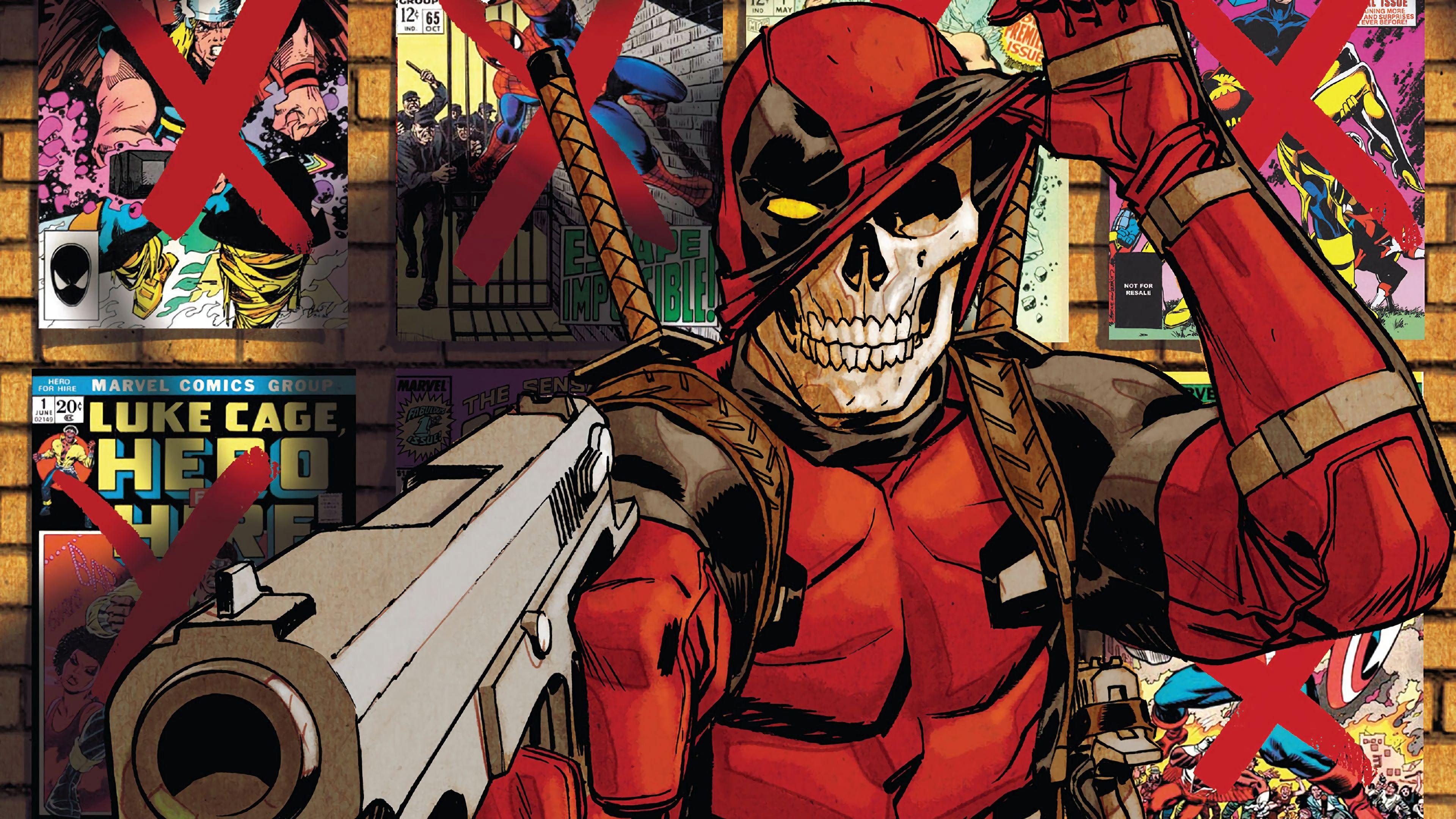 Deadpool Skull Marvel Comics 4K Wallpaper Marvel Comics