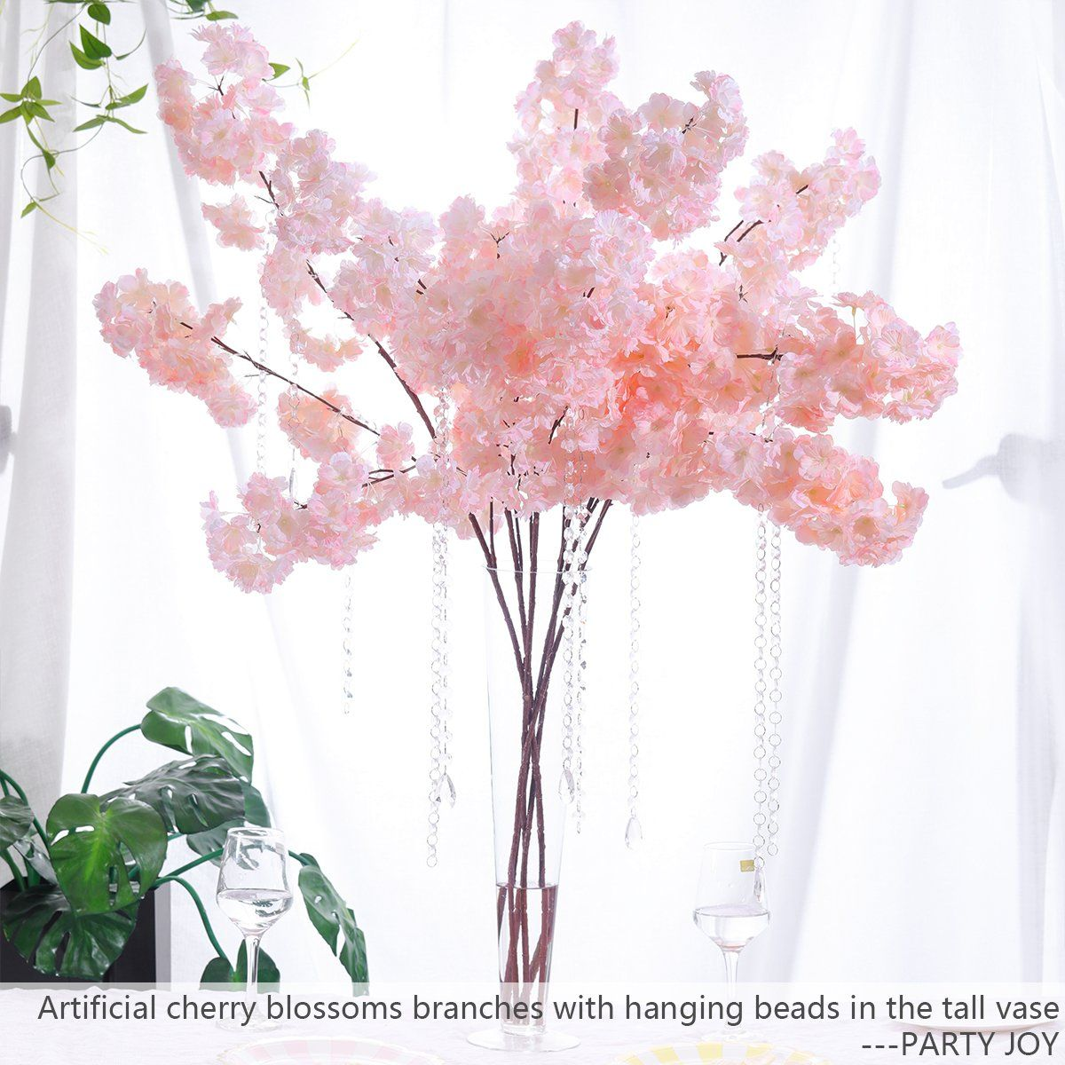 Party Joy 4pcs Artificial Cherry Blossom Branches Flowers Stems Silk Tall Fa Fake Flower Arrangements Silk Flower Centerpieces Wedding Decorations Centerpieces