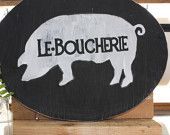 French Butcher Shop Sign -Black Oval