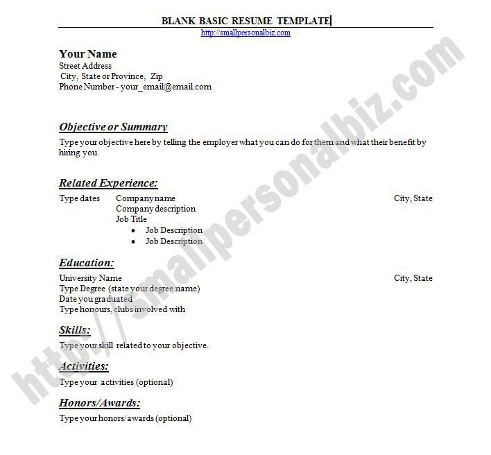 free blank basic resume template format for ms word