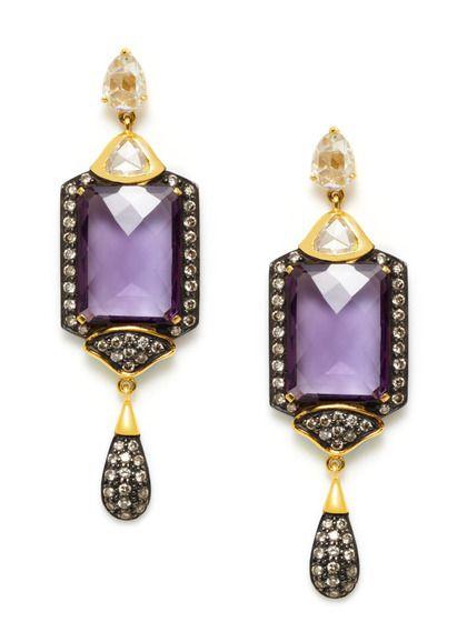 Amethyst & Multi-Cut Diamond Geometric Drop Earrings by Amrapali