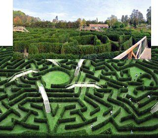 I think this would be fun for kids to play in. :) It just needs an observation tower for parents to watch the fun from. Labyrinth garden, Chateau de Thoiry France