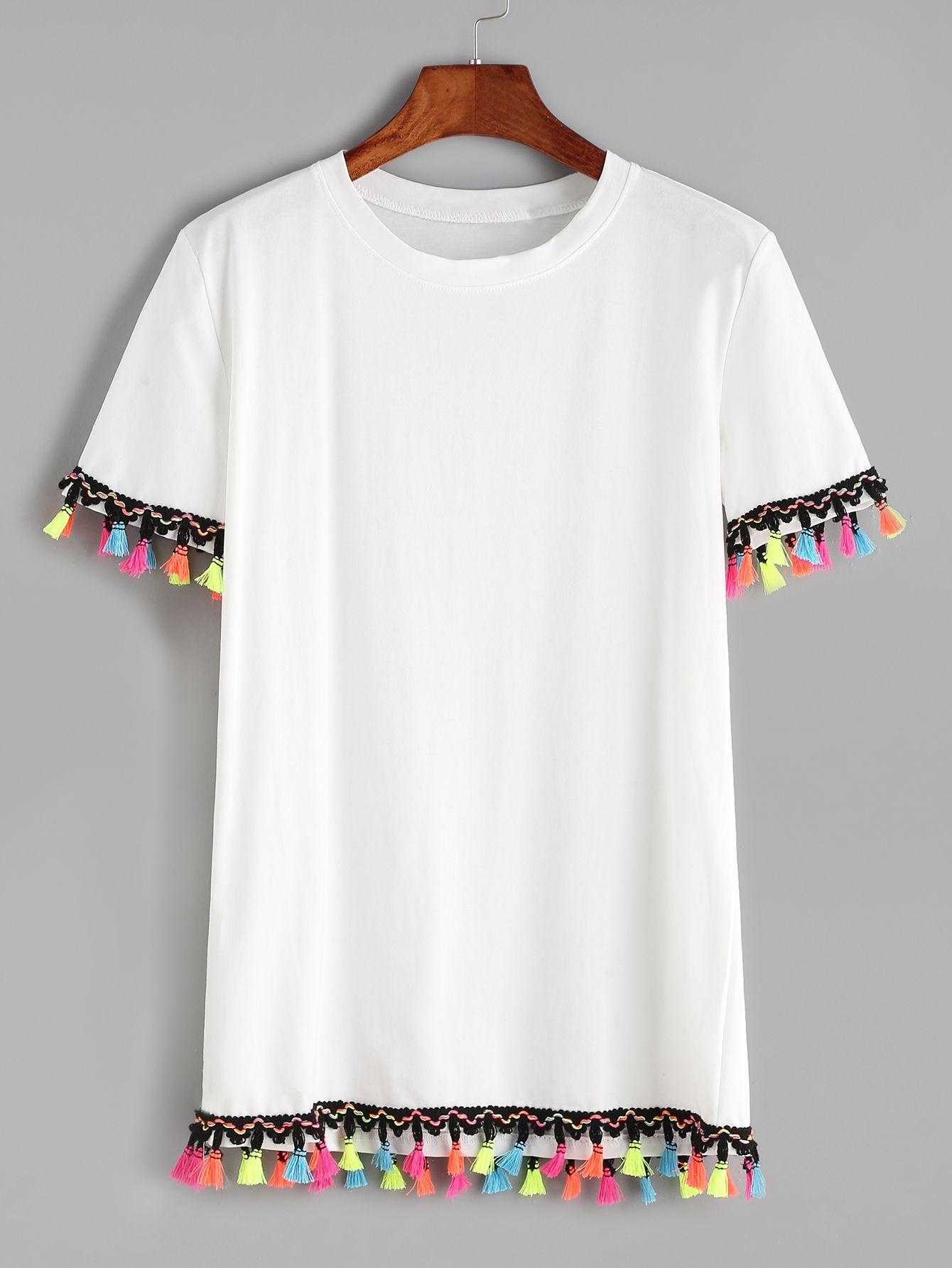 7ea21988668b50 Shop White Contrast Crochet Fringe Trim T-shirt online. SheIn offers White  Contrast Crochet Fringe Trim T-shirt   more to fit your fashionable needs.