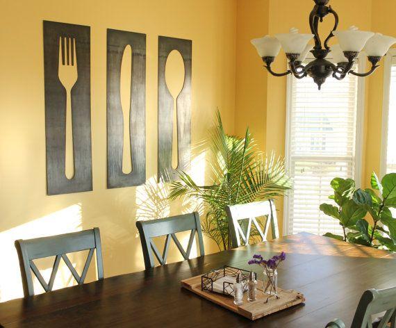 Fork Knife Spoon Decor Panels | farmhouse kitchen dining room metal ...