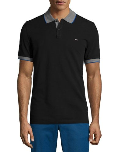 6357ea04 MICHAEL KORS Tape-Tipped Short-Sleeve Pique Polo Shirt, Black. #michaelkors  #cloth #