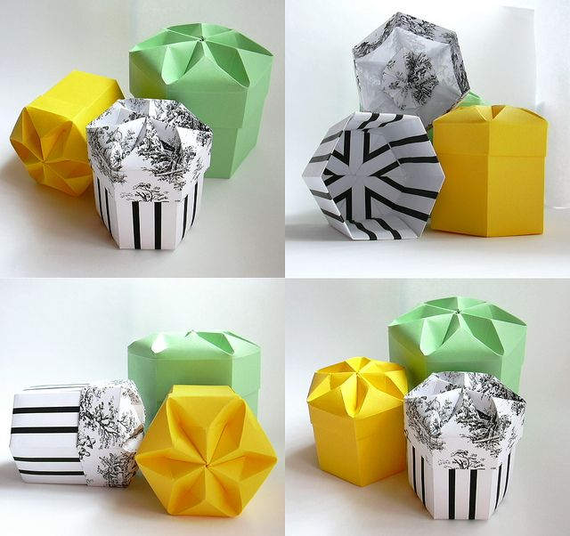 hexagonal boxes tomoko fuse origami origami box. Black Bedroom Furniture Sets. Home Design Ideas