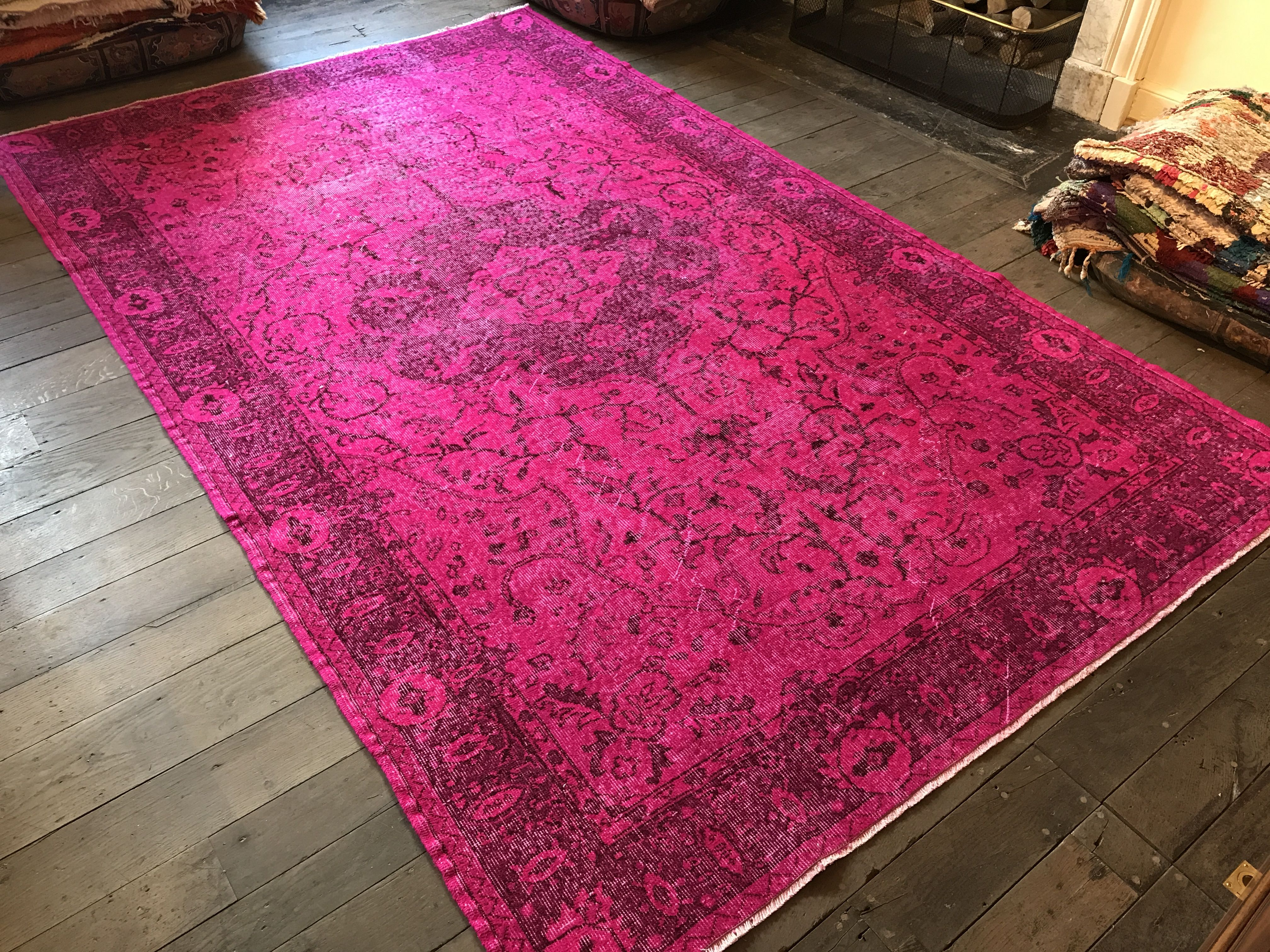 Reloaded Rug In Pink Large Turkish Rug Overdyed Oriental Carpet