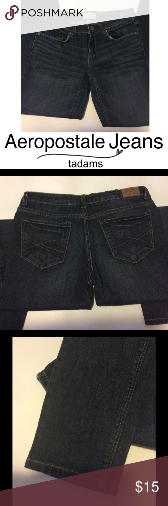 Denim Skinny Jeans Like new! Really nice, dark denim wash. Ultra-skinny cut.  Ankle length or, if your a petite girl, they're perfect, as they are a shorter length. Excellent condition. Aeropostale Jeans Skinny