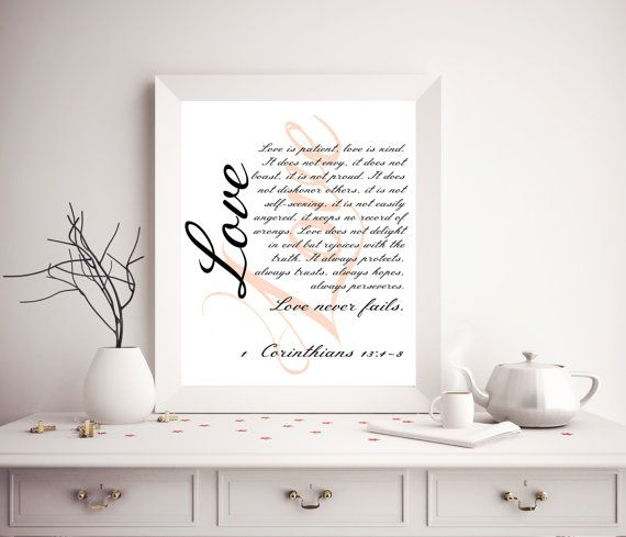 $5 https://www.etsy.com/shop/SoulPrintablesBible Verse Printable / Bible quote / Bible love by SoulPrintables