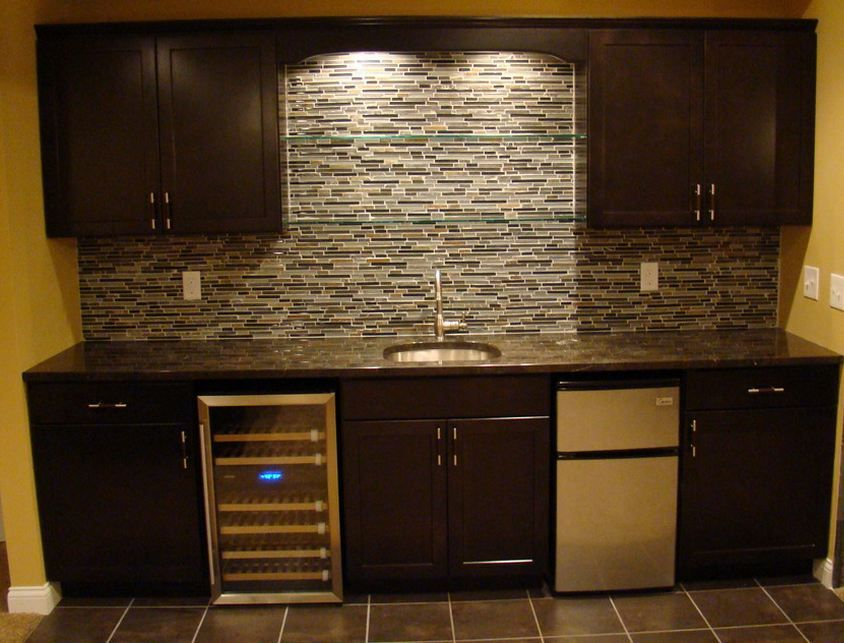 Bliss Smoky Mica Linear Wet Bar Cabinets Wet Bar Basement