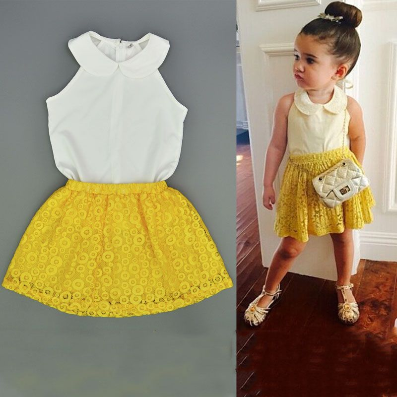 e8d623669 Toldder Infantil Small Girls Summer Chiffon White Top and Yellow Lace Skirt  2pcs Kid Girls Clothing