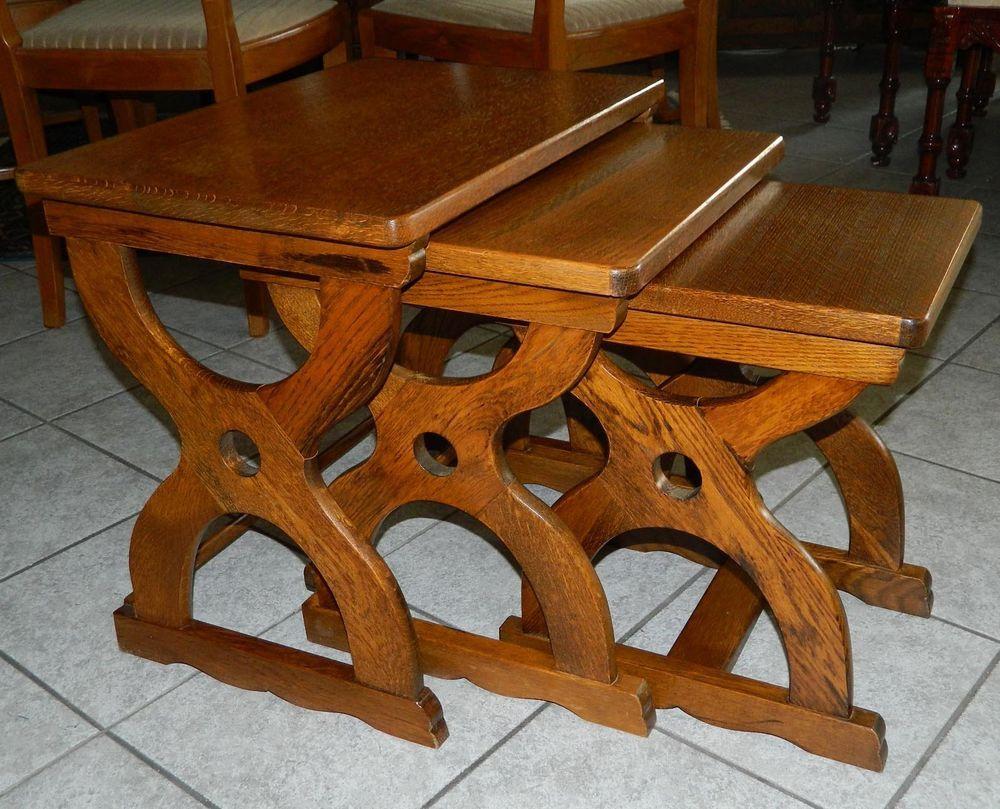 Dreier Tisch Set in Eiche Massiv Beiststelltische (3 Stück ...